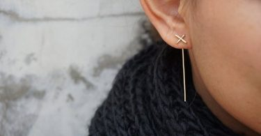 Gold Geometric Ear Jackets Thin Cross Earrings Bar