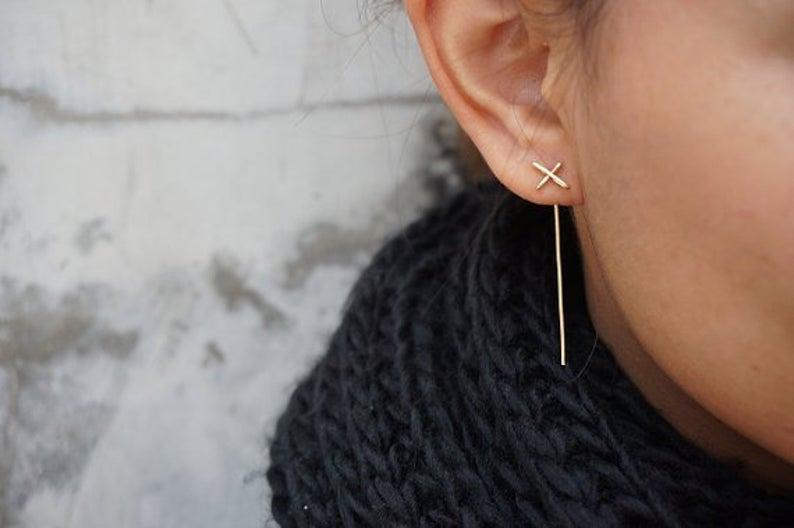 Gold Geometric Ear Jackets Thin Cross Earrings Bar