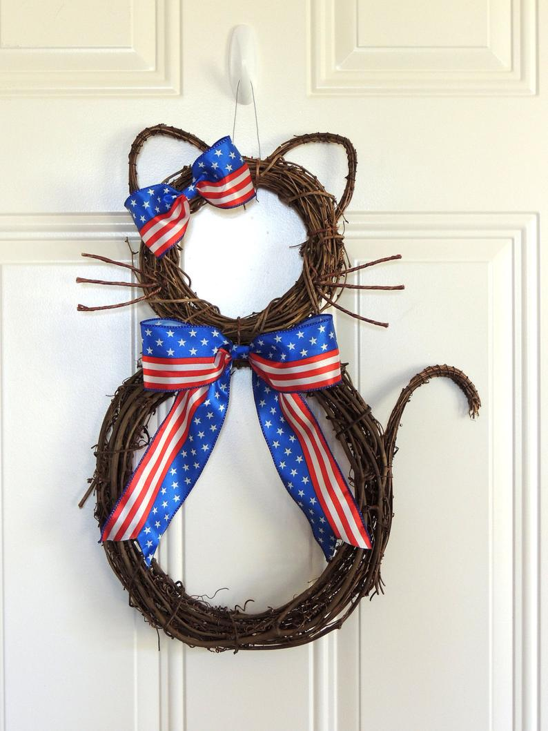Grapevine Cat Patriotic Wreath 4th of July Wreath Fourth Of