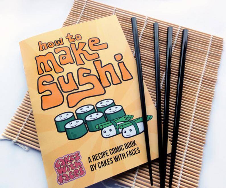 How to Make Sushi Recipe Comic Book Gift Set inc. Japanese