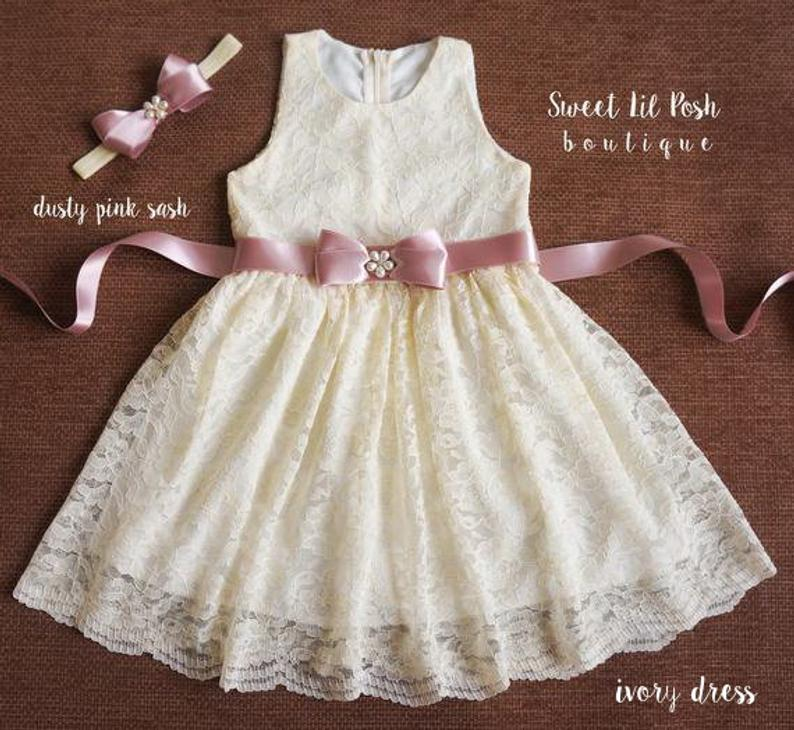 Ivory Flower Girl Dress Bohemian lace dress White lace