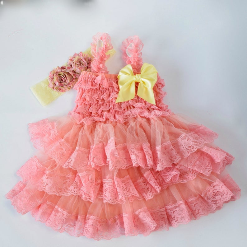 Lace Dress Coral Dress Flower Girl Girls Birthday Outfit