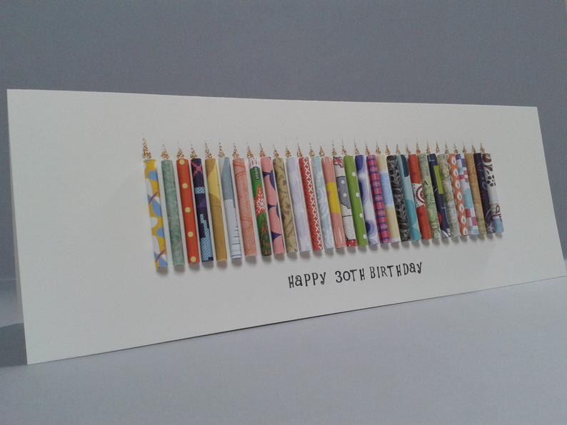 Large Happy 30TH Birthday Candle Card can be Personalised