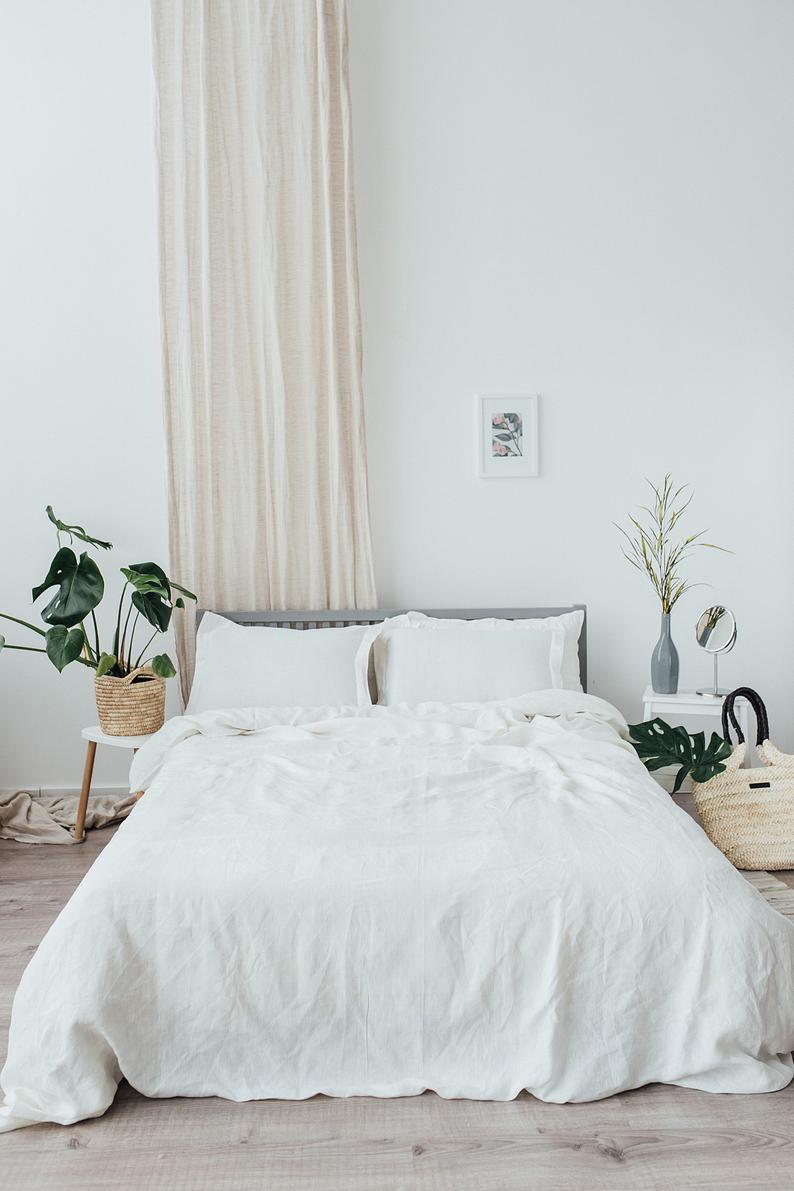 Linen Duvet Cover Pre Washed Soft Natural Organic Bedding 100%