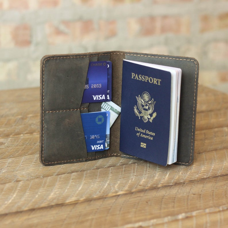 MONOGRAMMED Leather Travel Wallet Personalized Passport Cover