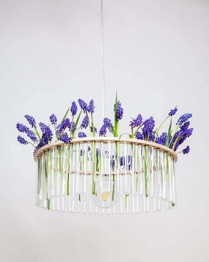 Maria S.C. single test tubes chandelier / lamp / // vase /