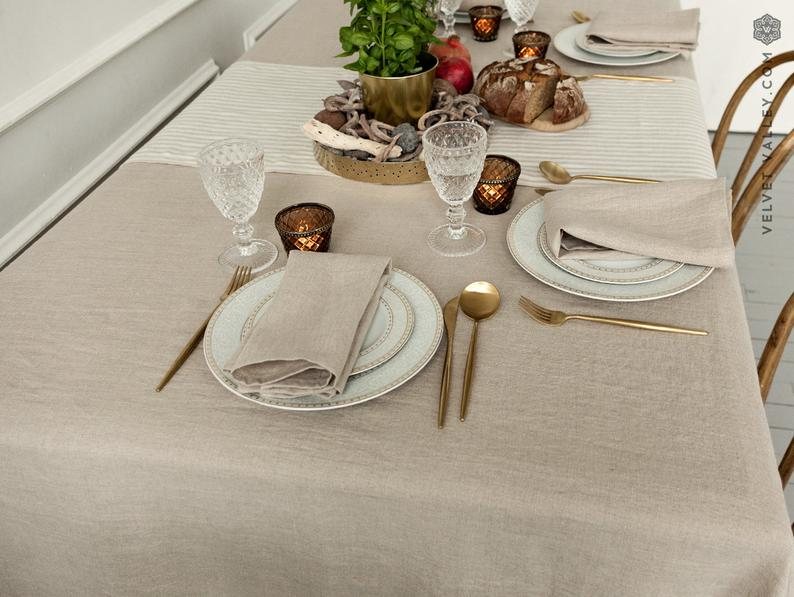 Natural softened linen tablecloth unbleached stonewashed
