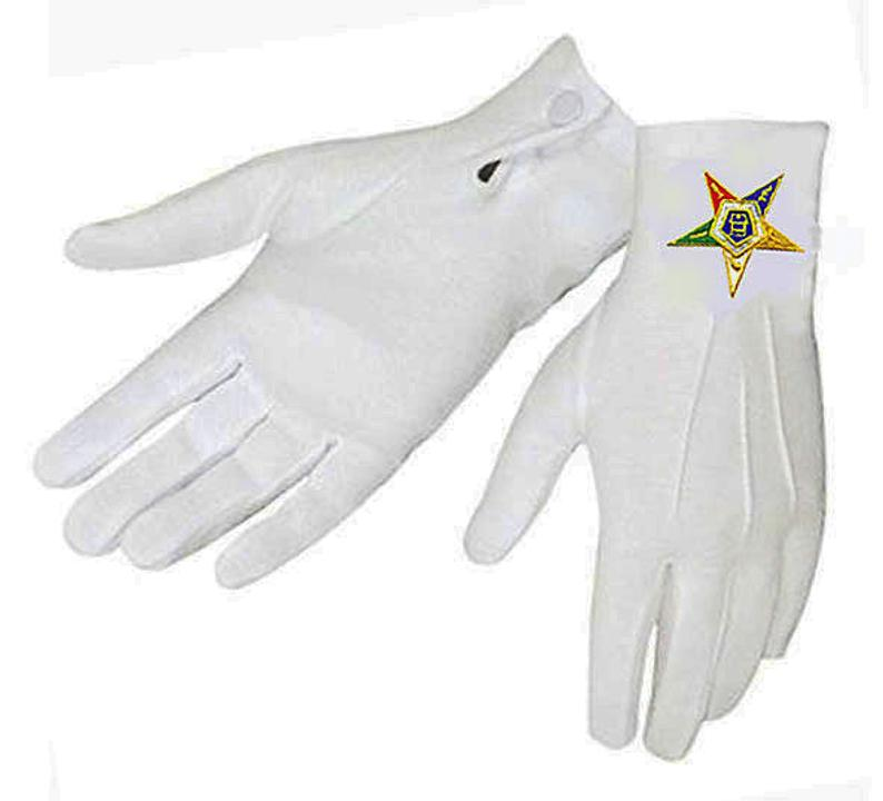OES GLOVES  Eastern Star  Snap Wrist  Nylon with