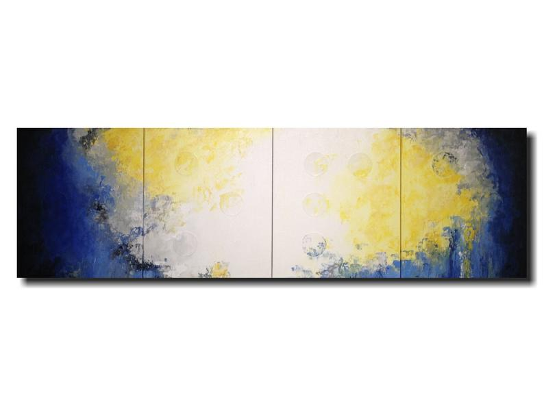 Original art Large blue abstract Painting  Braille art home