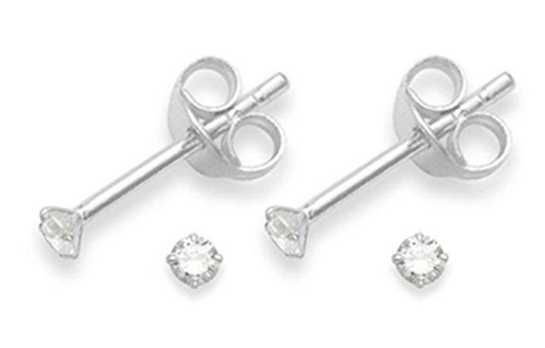 Pair of 925 solid sterling silver 2mm Clear CZ Ear Studs