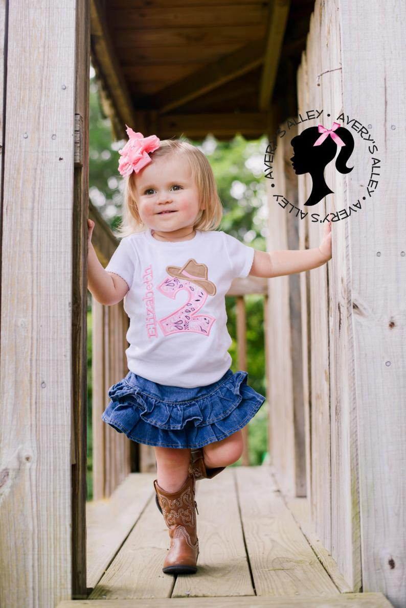 Personalized Pink Bandana Cowgirl Birthday Outfit  Bodysuit