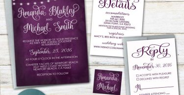 Plum Wedding Invitation ANY COLOR Plum wedding invitations