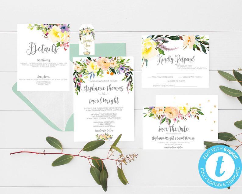 Printable wedding invitations floral wedding invitation