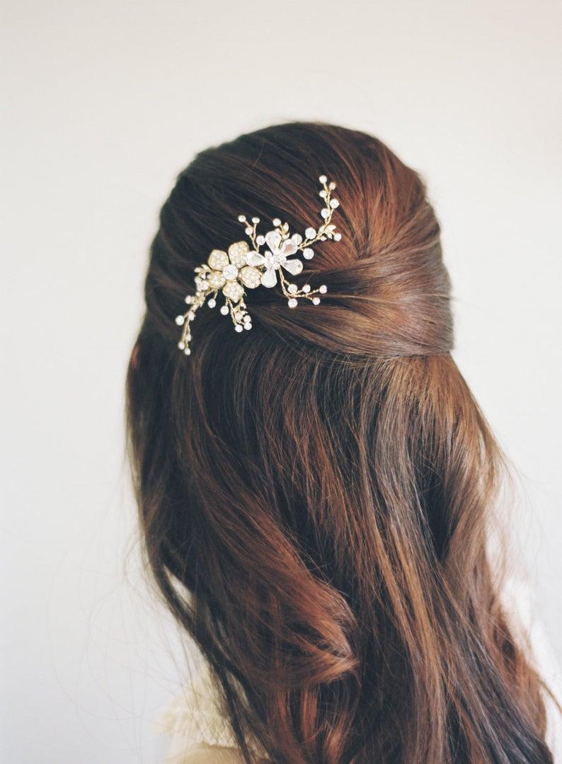 Rose Gold Hair Vine-Swarovski Crystals-Rhinestone Hair