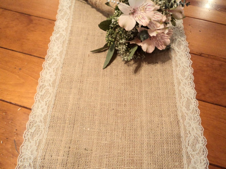 Rustic Burlap Table Runner with Lace No Chemical or Odor
