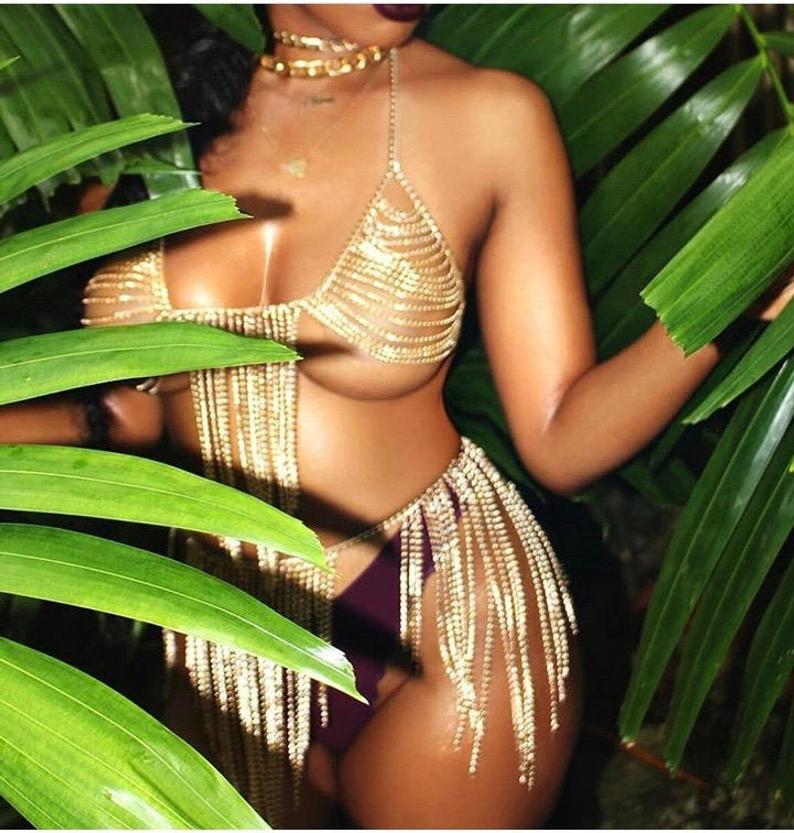Sexy bra chain set/ Gold Chain Bra Set/ Gold Body Chain / Body