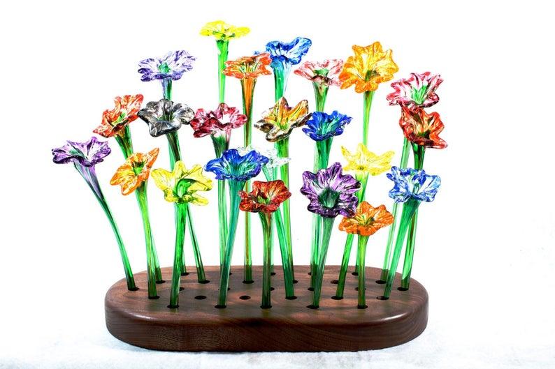 Single Colorful handblown glass flower