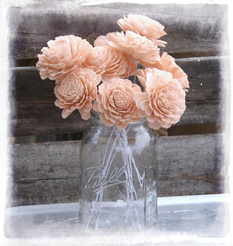 Sola Wood Flowers 2 Peach Sola Flowers Stemmed OR