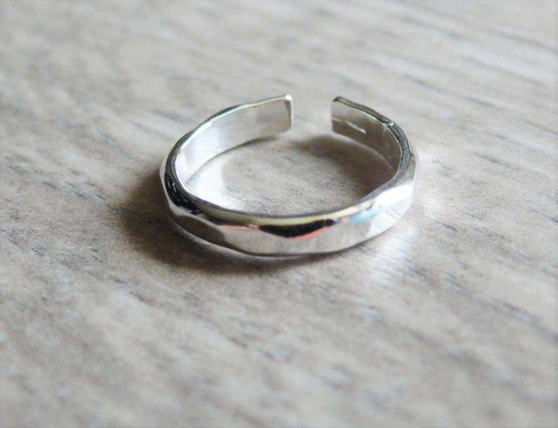 Sterling silver toe ring  Sterling toe ring  Hammered toe