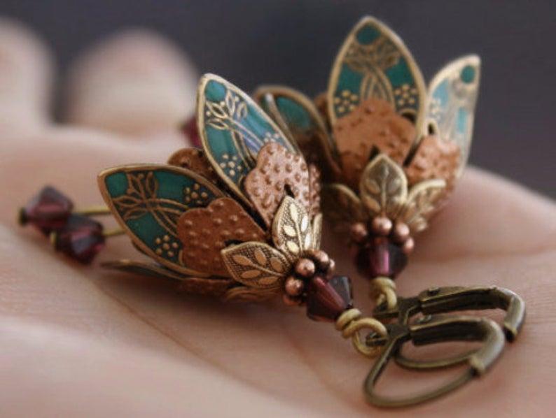 Teal Flower Earrings Girlfriend Gift Dangle Flower Earrings