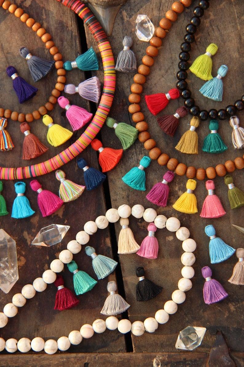 Tiny Jewelry Making Tassels 2 cm Silver Binding Cotton