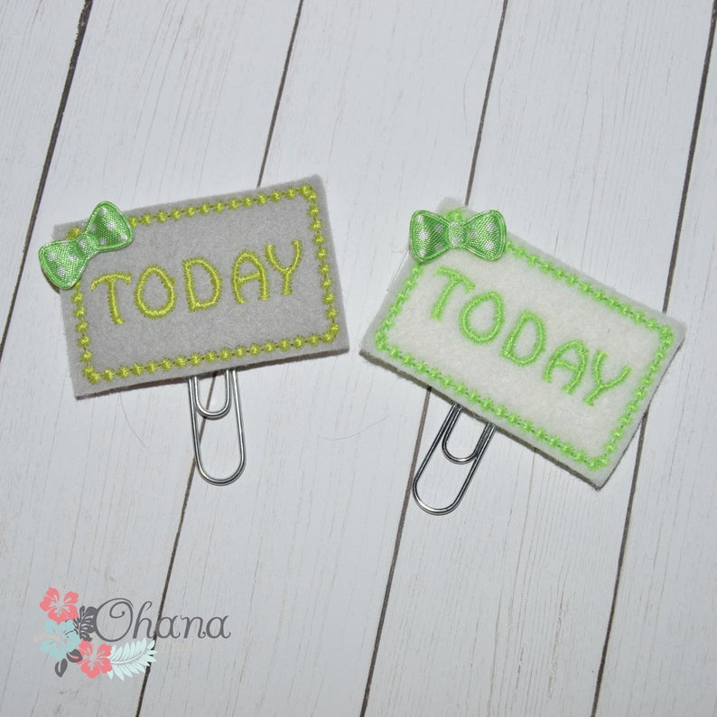 Today Green on White or GraynPlanner Clip  EC  Feltie