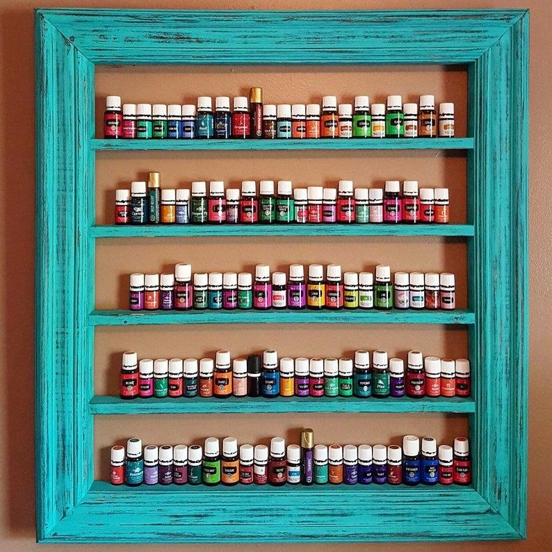 Turquoise home decor Oil shelf Nail polish shelf CBD oil