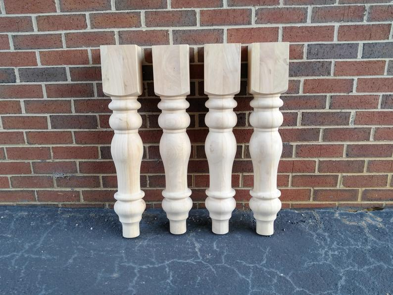 Unfinished Farmhouse Dining Table Legs Wood Legs. Turned