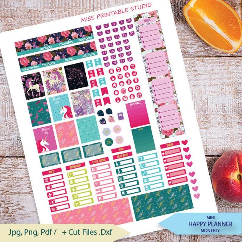 Unicorn Monthly Planner Stickers Printable Monthly Mini Happy