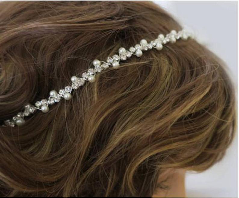Vintage Inspired Bridal Headband Pearl and Rhinestone Art Deco