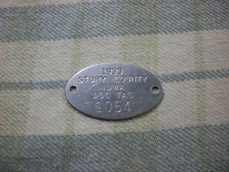 Vintage Metal Dog ID 1933 Story County Iowa Dog Tag 1054