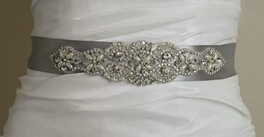 Vintage Pearl Crystal Silver Satin Wedding Sash Crystal