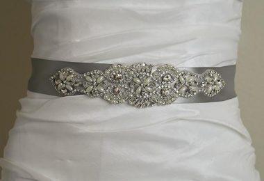 Vintage Pearl Crystal Silver Satin Wedding Sash Crystal