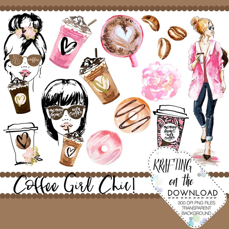 Watercolor coffee clipart png file watercolor coffee clip art