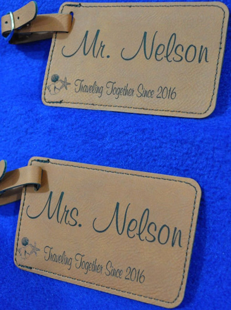 Wedding Gift  Luggage Tag  Leather Tag  Bride And Groom Tag