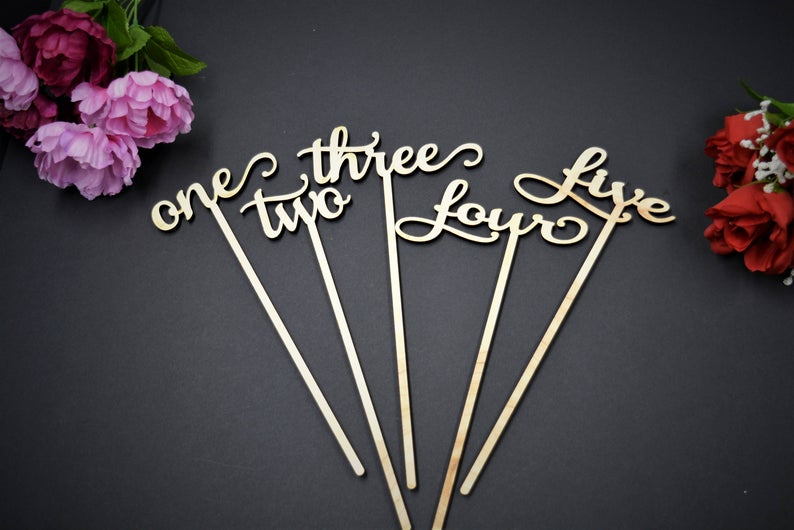 Wedding Table Numbers with Attached Stakes. Wood Wedding Table