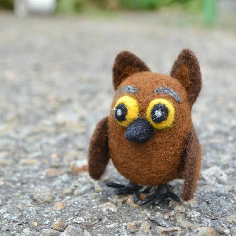 Wool OwlDecor OwletNeedle Felted Owl OrnamentBird lover
