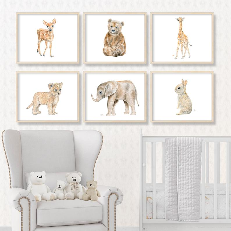 Animal Nursery Art Baby Animal Nursery Prints Animal Paintings
