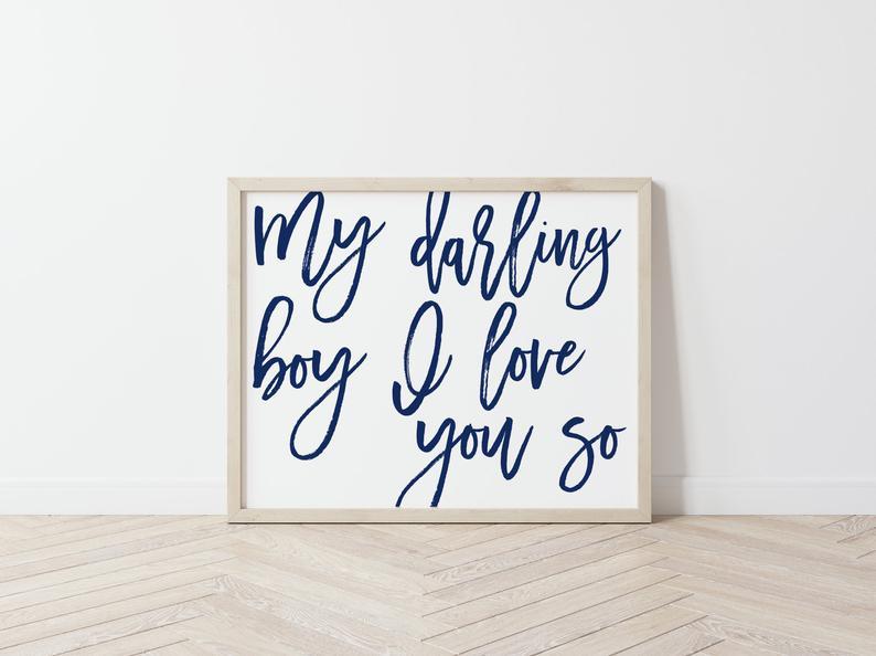 Baby Boy Nursery Wall Art My Darling Boy I love you so Navy