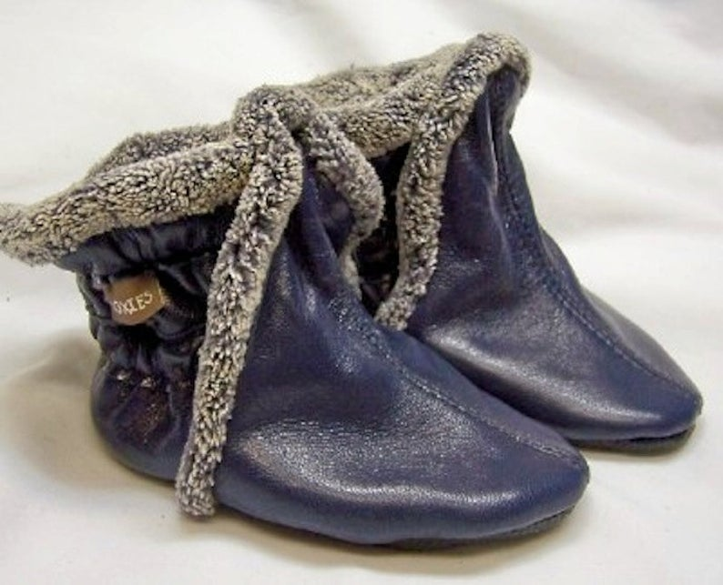 Baby booties boots  navy leather booties warm for winter