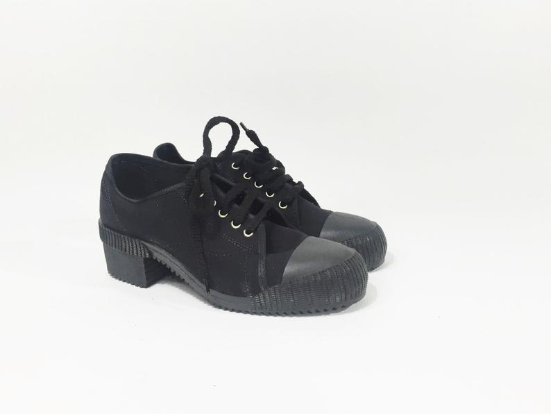 Black canvas sneakers / Black chunky sneakers / Black chunky