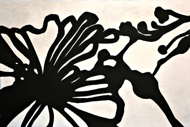 Black/White LARGE Flower 24×36 Thick Edge Canvas
