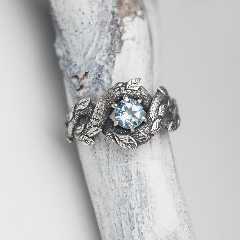 Blue Dragon Ring Nature Inspired Engagement Ring Wedding