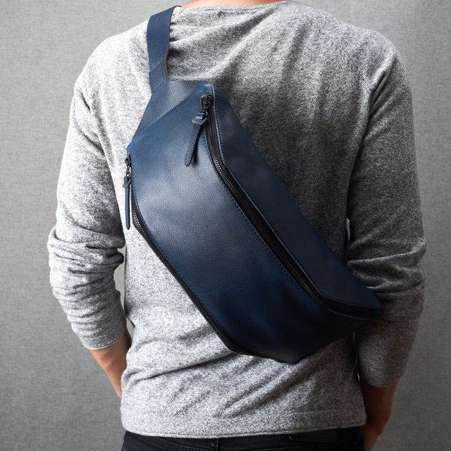 Blue Leather Fenek Sling Bag
