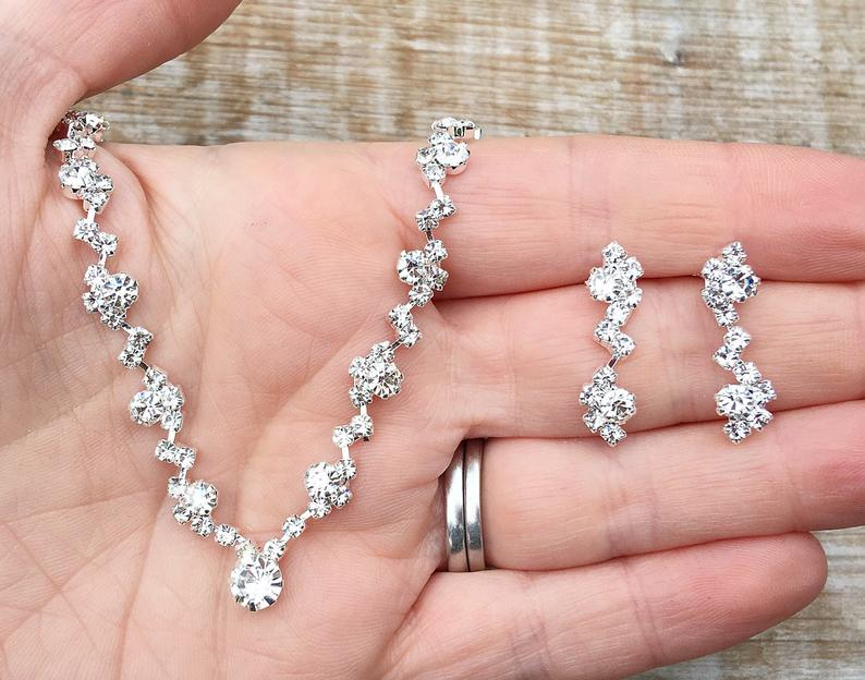 Bridal necklace and earring set wedding necklace and earring