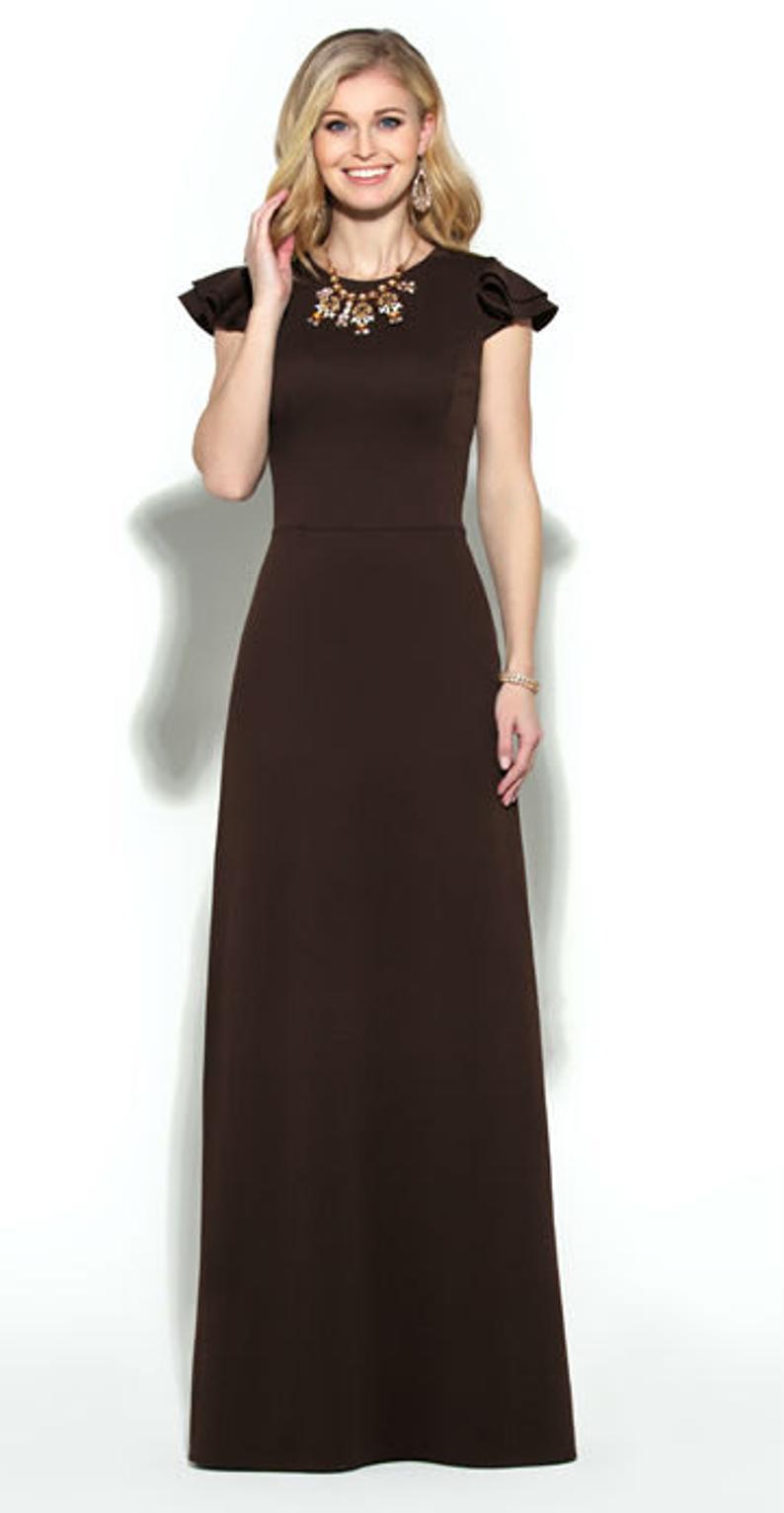 Chocolate Fall floor Maxi dress Long dress Women Dark brown