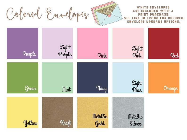 Colored Envelopes  Set of 10  Add on item for print