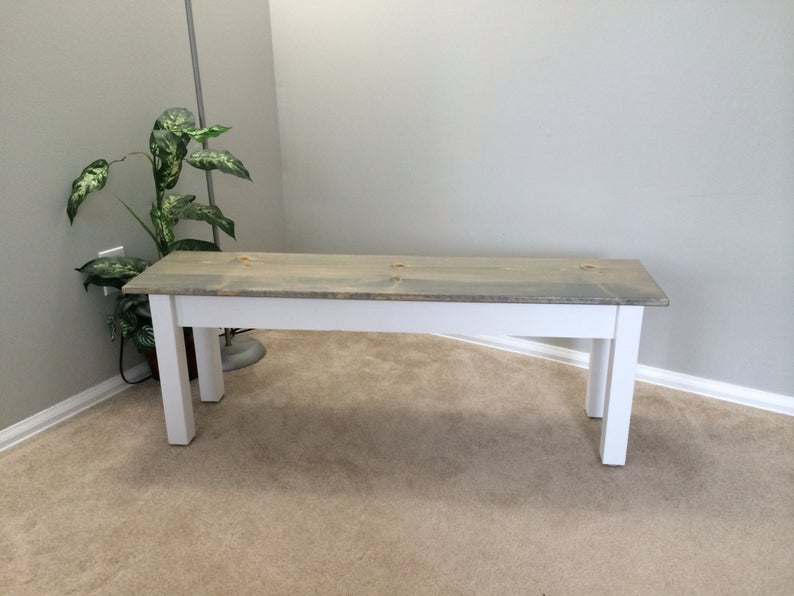 Cottage Farmhouse Bench Rustic Solid Wood Bench