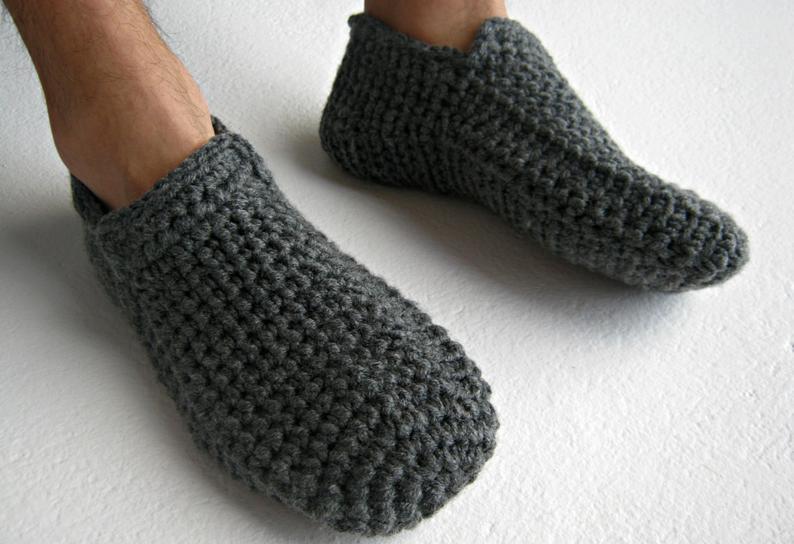 Crochet Slippers Gray Slippers Warm Slippers Slipper Socks
