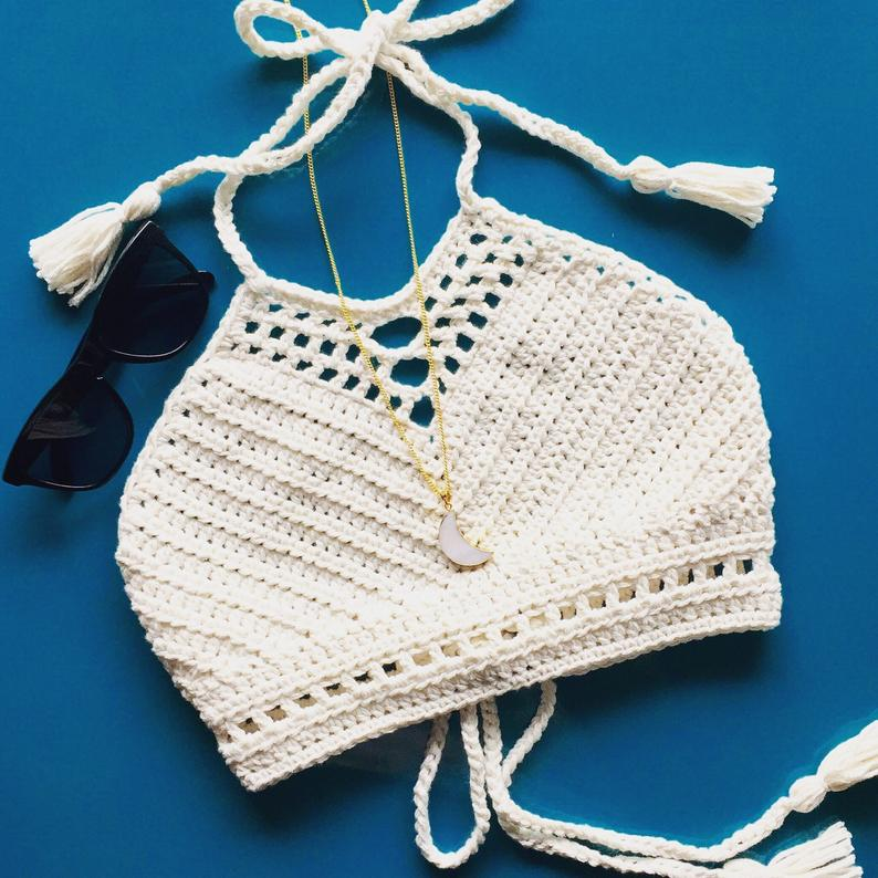 Crochet festival top bikini top halter top crochet bikini